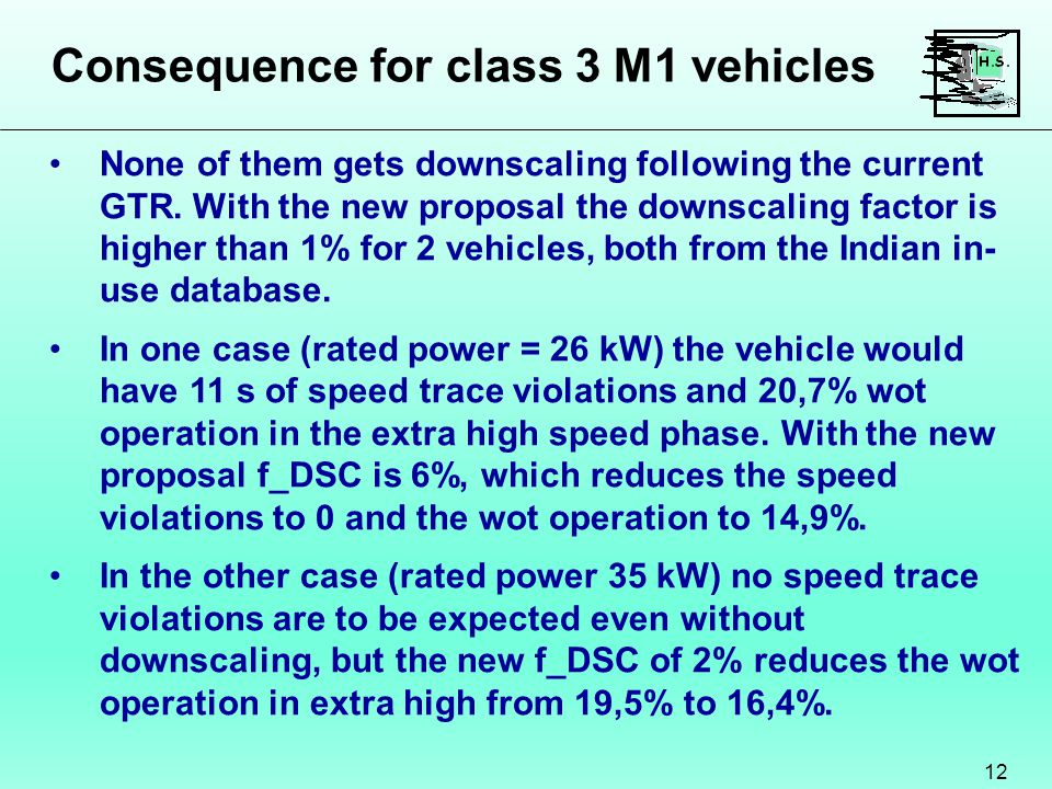 Consequence for class 3 M1 vehicles 12 None of them gets downscaling following the current GTR.