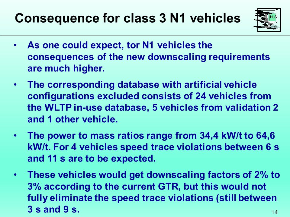 Consequence for class 3 N1 vehicles 14 As one could expect, tor N1 vehicles the consequences of the new downscaling requirements are much higher.