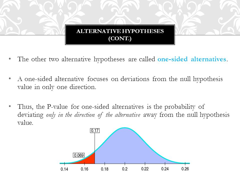 The other two alternative hypotheses are called one-sided alternatives. A one-sided alternative focuses on deviations from the null hypothesis value i