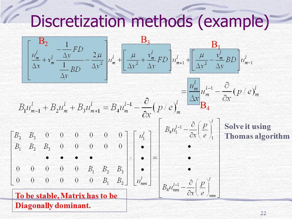 22 Discretization methods (example) B2B2 B3B3 B1B1 B4B4 Solve it using Thomas algorithm To be stable, Matrix has to be Diagonally dominant.
