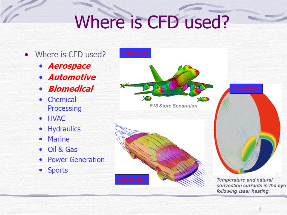 5 Where is CFD used? Aerospace Automotive Biomedical Chemical Processing HVAC Hydraulics Marine Oil & Gas Power Generation Sports F18 Store Separation