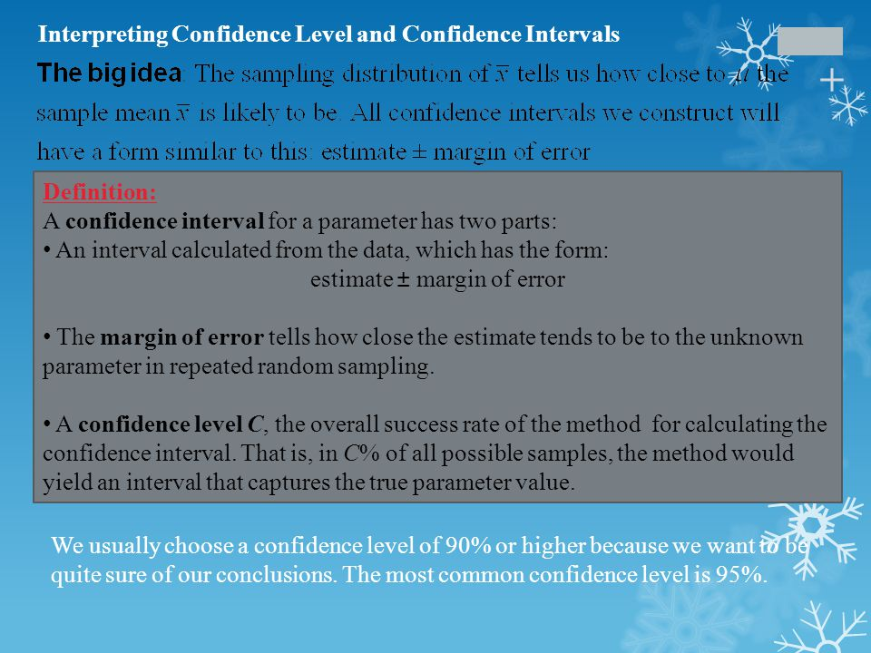 + Confidence level: To say that we are 95% confident is shorthand for 95% of all possible samples of a given size from this population will result in an interval that captures the unknown parameter. Confidence interval: To interpret a C% confidence interval for an unknown parameter, say, We are C% confident that the interval from _____ to _____ captures the actual value of the [population parameter in context]. Interpreting Confidence Level and Confidence Intervals Interpreting Confidence Levels and Confidence Intervals The confidence level is the overall capture rate if the method is used many times.