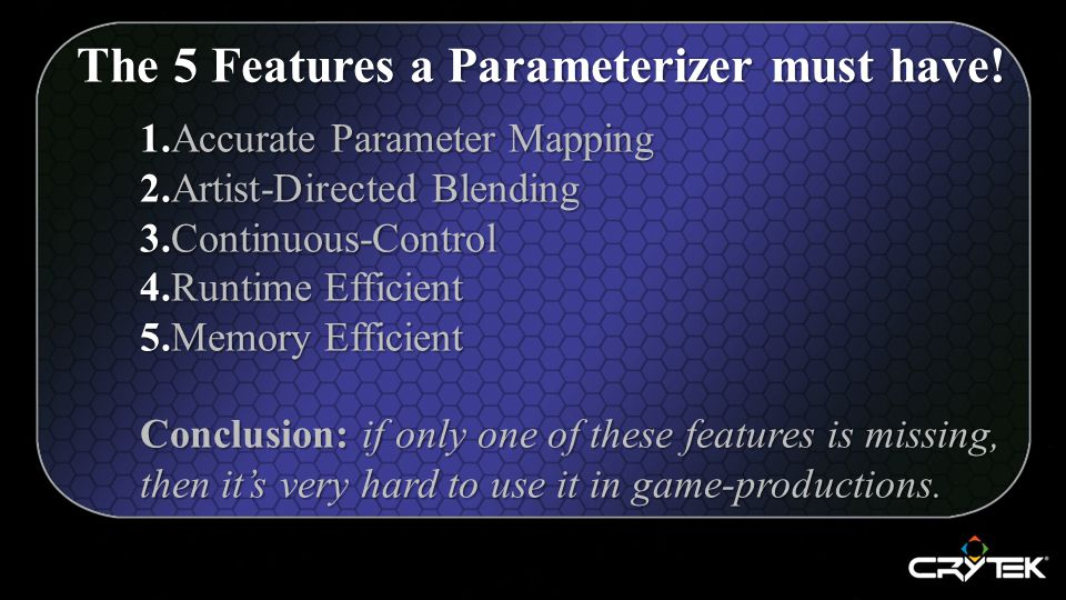 1.Accurate Parameter Mapping 2.Artist-Directed Blending 3.Continuous-Control 4.Runtime Efficient 5.Memory Efficient Conclusion: if only one of these features is missing, then it's very hard to use it in game-productions.