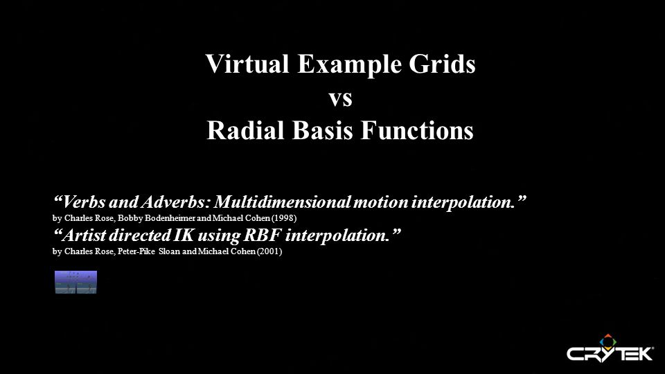 Virtual Example Grids vs Radial Basis Functions Verbs and Adverbs: Multidimensional motion interpolation. by Charles Rose, Bobby Bodenheimer and Michael Cohen (1998) Artist directed IK using RBF interpolation. by Charles Rose, Peter-Pike Sloan and Michael Cohen (2001)