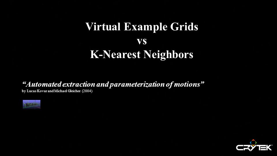 Virtual Example Grids vs K-Nearest Neighbors Automated extraction and parameterization of motions by Lucas Kovar and Michael Gleicher (2004)