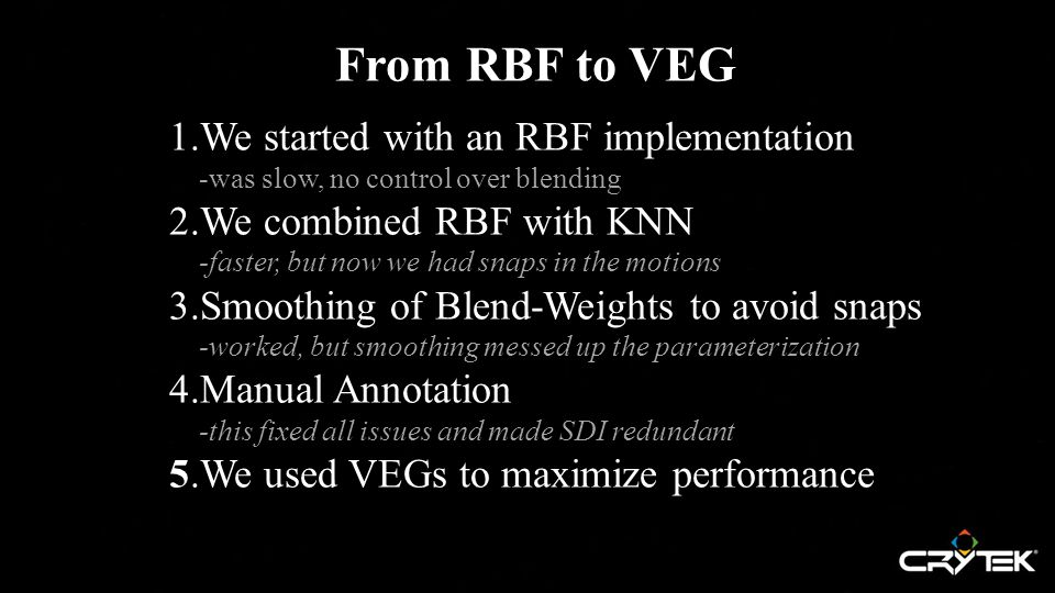 From RBF to VEG 1.We started with an RBF implementation -was slow, no control over blending -was slow, no control over blending 2.We combined RBF with KNN -faster, but now we had snaps in the motions -faster, but now we had snaps in the motions 3.Smoothing of Blend-Weights to avoid snaps -worked, but smoothing messed up the parameterization -worked, but smoothing messed up the parameterization 4.Manual Annotation -this fixed all issues and made SDI redundant -this fixed all issues and made SDI redundant 5.We used VEGs to maximize performance