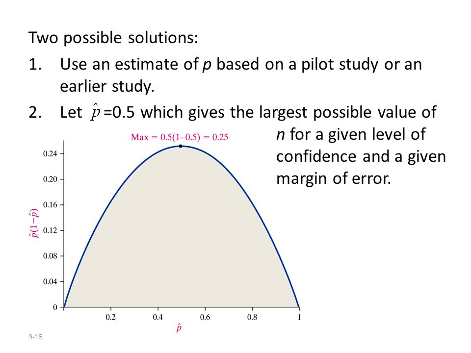 9-15 Two possible solutions: 1.Use an estimate of p based on a pilot study or an earlier study. 2.Let =0.5 which gives the largest possible value of n