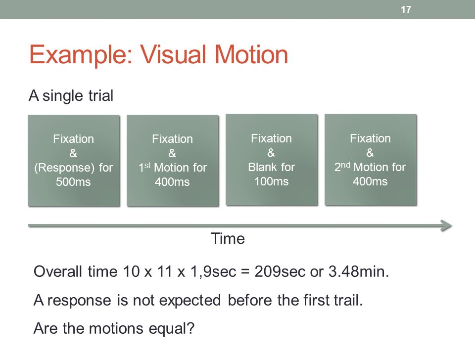 Example: Visual Motion A single trial 17 Fixation & (Response) for 500ms Fixation & (Response) for 500ms Fixation & 1 st Motion for 400ms Fixation & 1