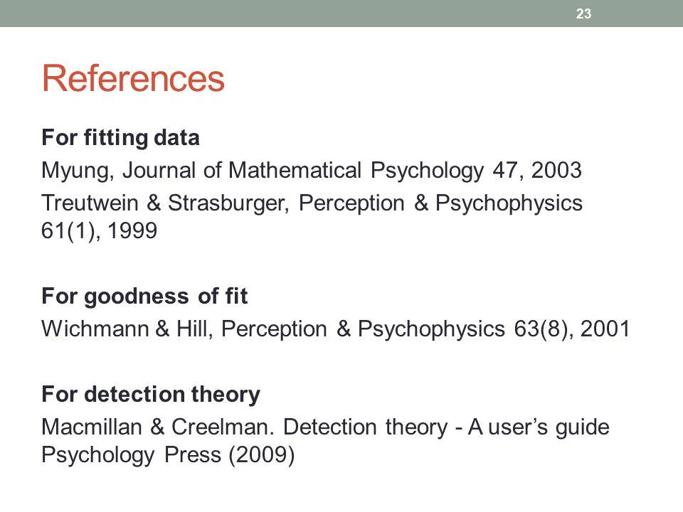 References For fitting data Myung, Journal of Mathematical Psychology 47, 2003 Treutwein & Strasburger, Perception & Psychophysics 61(1), 1999 For goo