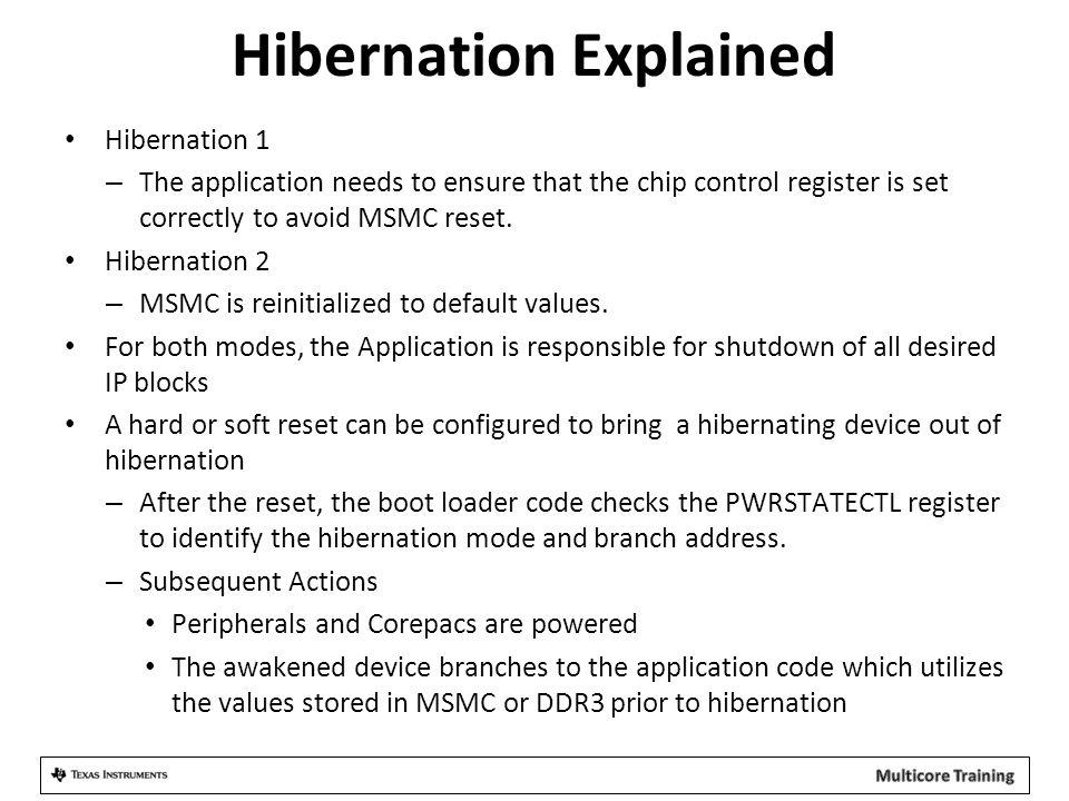 Hibernation Explained Hibernation 1 – The application needs to ensure that the chip control register is set correctly to avoid MSMC reset. Hibernation