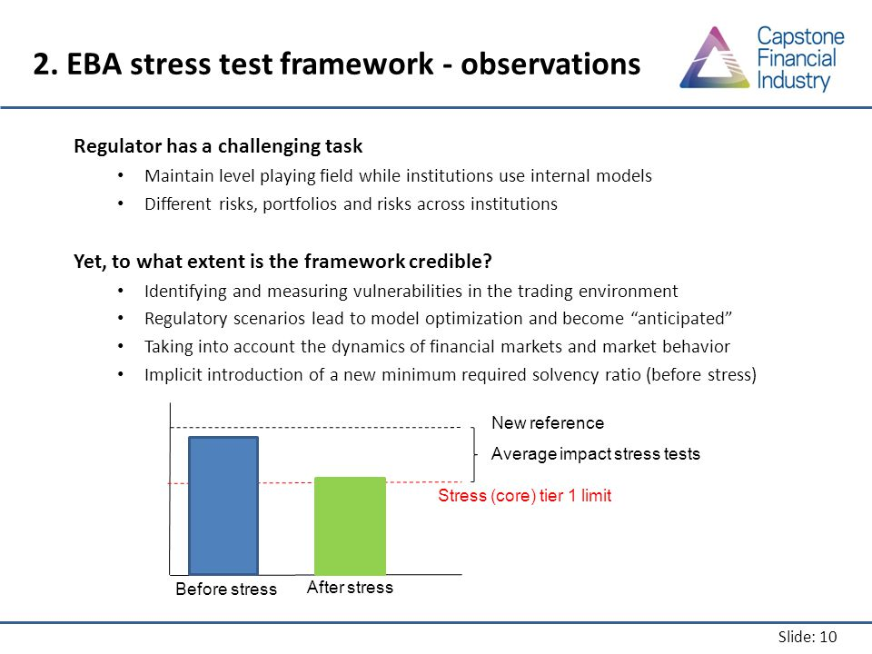 Slide: 10 2. EBA stress test framework - observations Regulator has a challenging task Maintain level playing field while institutions use internal mo