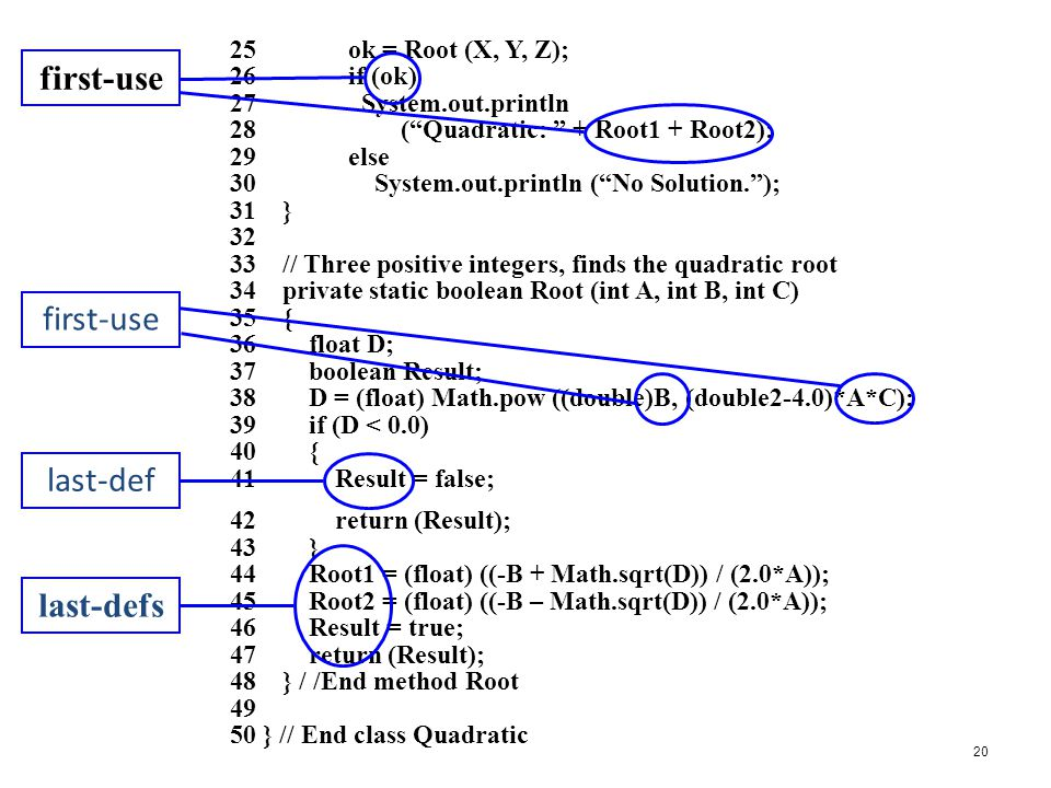20 25 ok = Root (X, Y, Z); 26 if (ok) 27 System.out.println 28 ( Quadratic: + Root1 + Root2); 29 else 30 System.out.println ( No Solution. ); 31 } 32 33 // Three positive integers, finds the quadratic root 34 private static boolean Root (int A, int B, int C) 35 { 36 float D; 37 boolean Result; 38 D = (float) Math.pow ((double)B, (double2-4.0)*A*C); 39 if (D < 0.0) 40 { 41 Result = false; 42 return (Result); 43 } 44 Root1 = (float) ((-B + Math.sqrt(D)) / (2.0*A)); 45 Root2 = (float) ((-B – Math.sqrt(D)) / (2.0*A)); 46 Result = true; 47 return (Result); 48 } / /End method Root 49 50 } // End class Quadratic last-def first-use last-defs