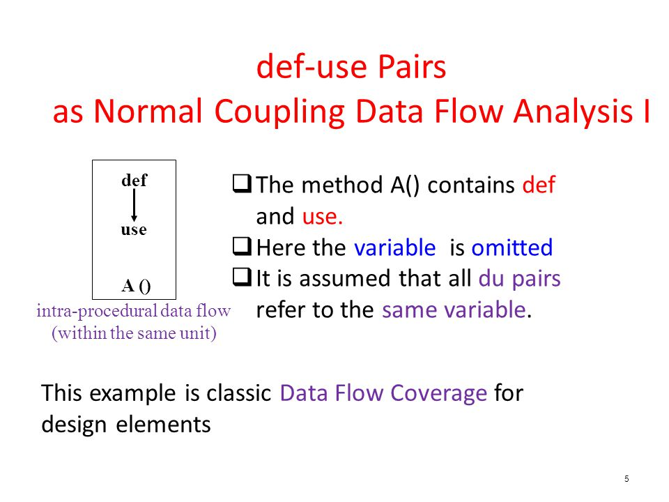 5 def-use Pairs as Normal Coupling Data Flow Analysis I def use A () intra-procedural data flow (within the same unit)  The method A() contains def and use.