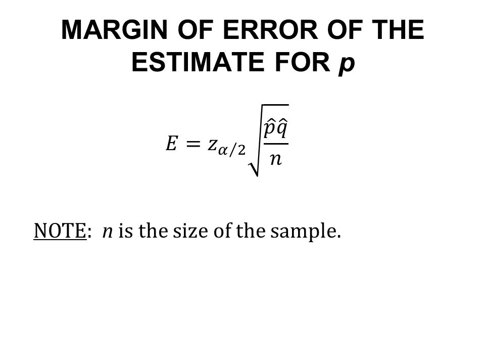 MARGIN OF ERROR OF THE ESTIMATE FOR p NOTE: n is the size of the sample.