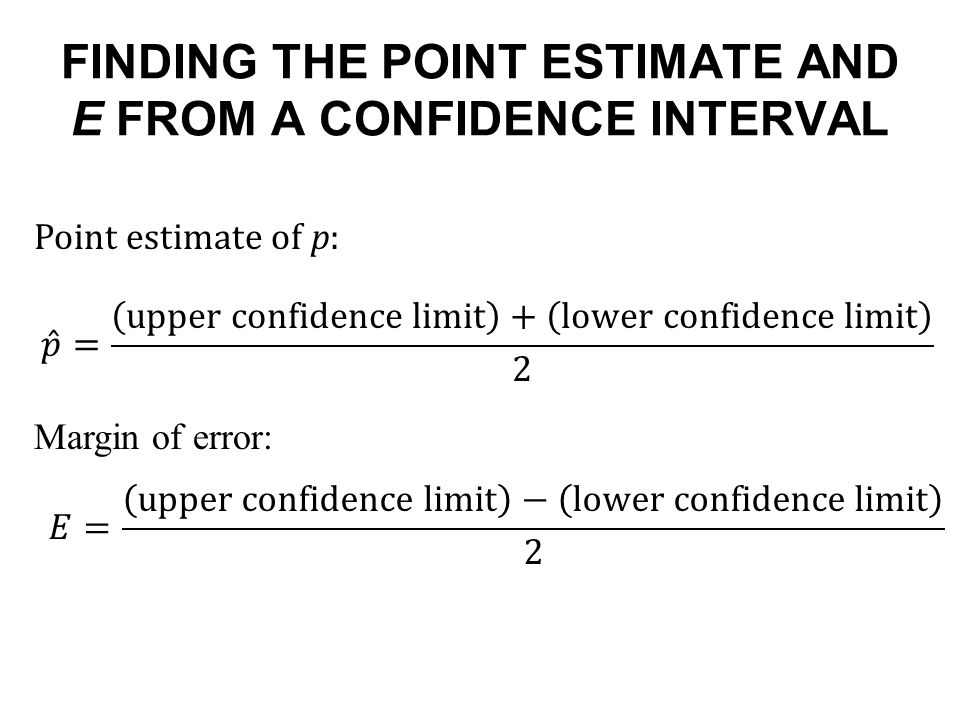 FINDING THE POINT ESTIMATE AND E FROM A CONFIDENCE INTERVAL Point estimate of p: Margin of error: