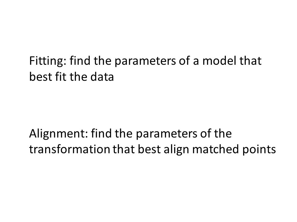 Fitting: find the parameters of a model that best fit the data Alignment: find the parameters of the transformation that best align matched points