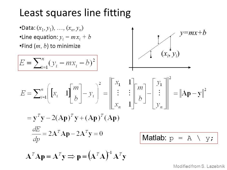 Least squares line fitting Data: (x 1, y 1 ), …, (x n, y n ) Line equation: y i = m x i + b Find ( m, b ) to minimize (x i, y i ) y=mx+b Matlab: p = A \ y; Modified from S.