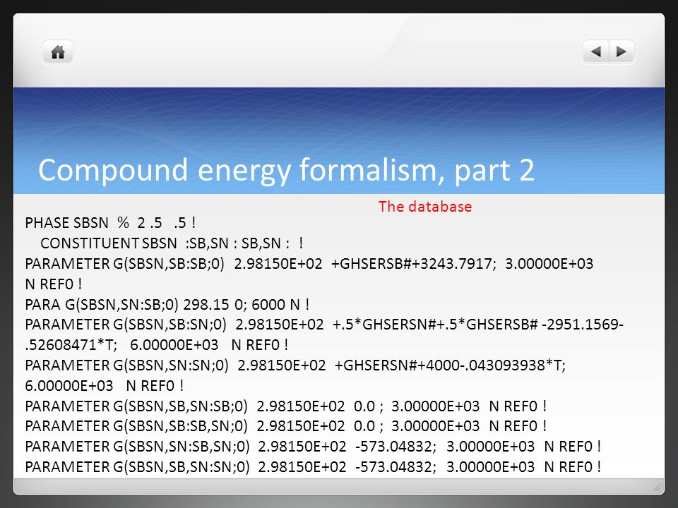 Compound energy formalism, part 2 The database PHASE SBSN % 2.5.5 .