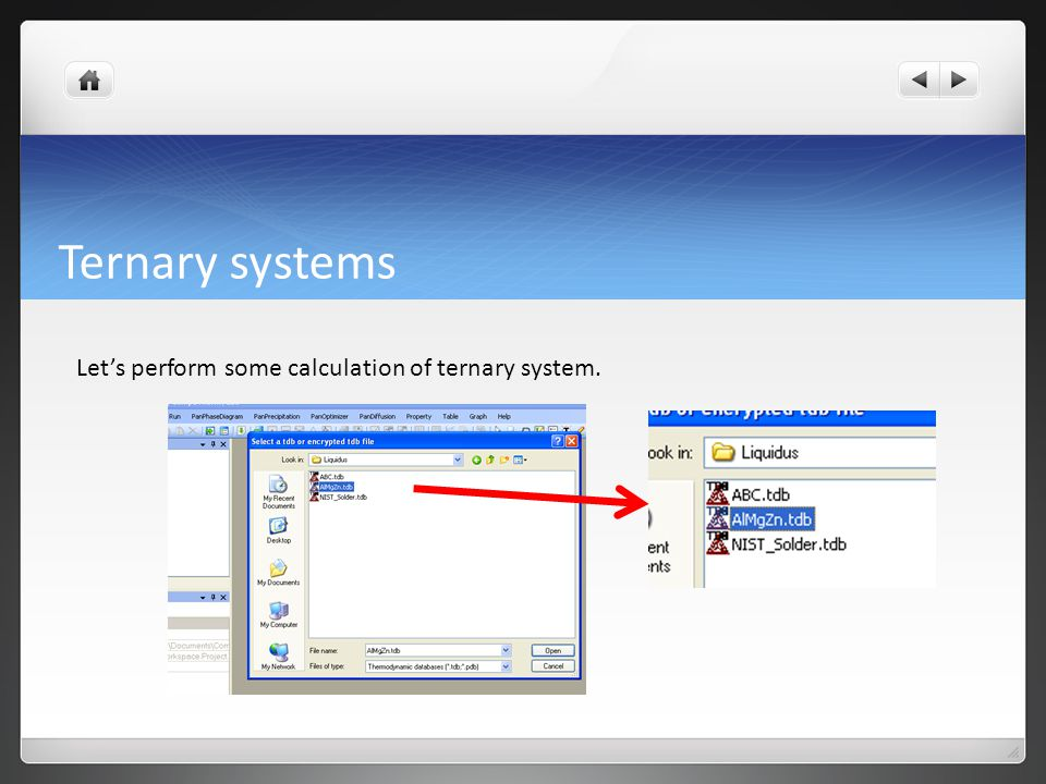 Ternary systems Let's perform some calculation of ternary system.