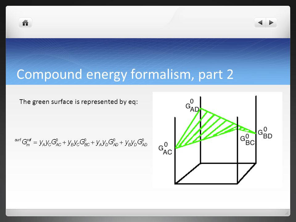 Compound energy formalism, part 2 The method for describing the Gibbs excess energy can, again, be best shown by using a two-sublattice system (A, B) 1 (C,D) 1 before generalizing to a multi-component system.