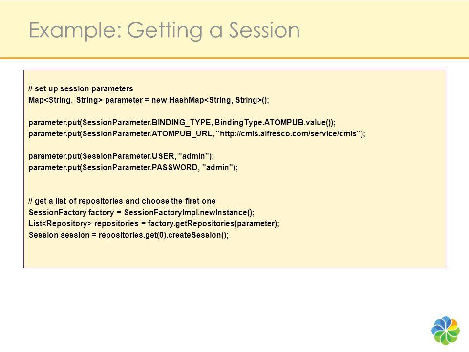 // set up session parameters Map parameter = new HashMap (); parameter.put(SessionParameter.BINDING_TYPE, BindingType.ATOMPUB.value()); parameter.put(