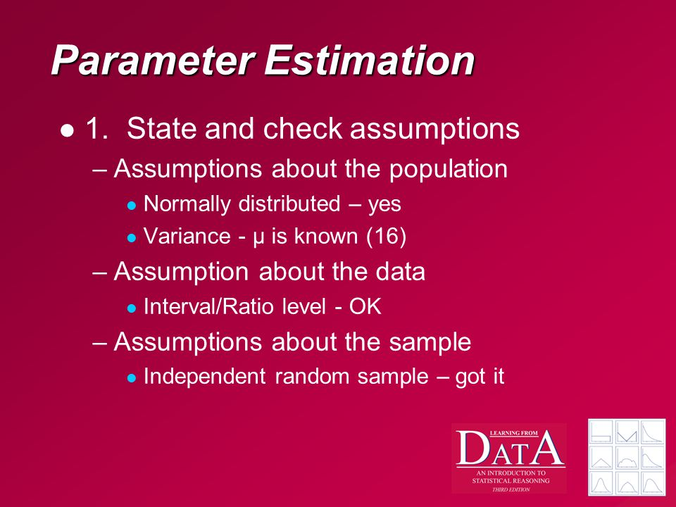 Parameter Estimation 1.State and check assumptions –Assumptions about the population Normally distributed – yes Variance - μ is known (16) –Assumption