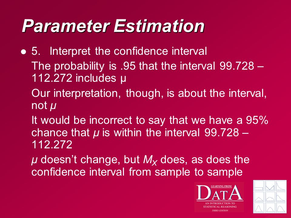 Parameter Estimation 5. Interpret the confidence interval The probability is.95 that the interval 99.728 – 112.272 includes μ Our interpretation, thou
