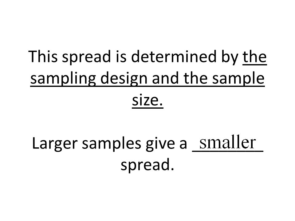 This spread is determined by the sampling design and the sample size. Larger samples give a ________ spread.