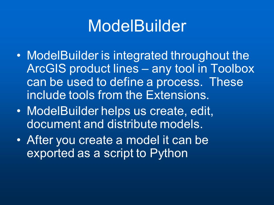 Create New Toolbox and New Model In ArcCatalog, right-click and create a new Toolbox in a folder that you want to use Then right-click and create and name a new Model