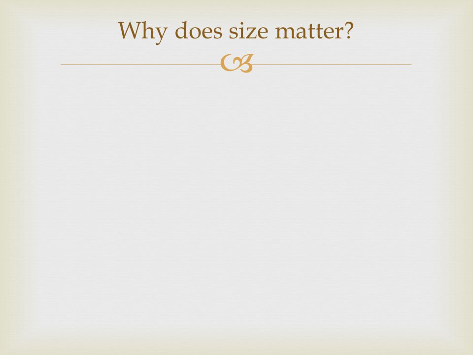  Why does size matter