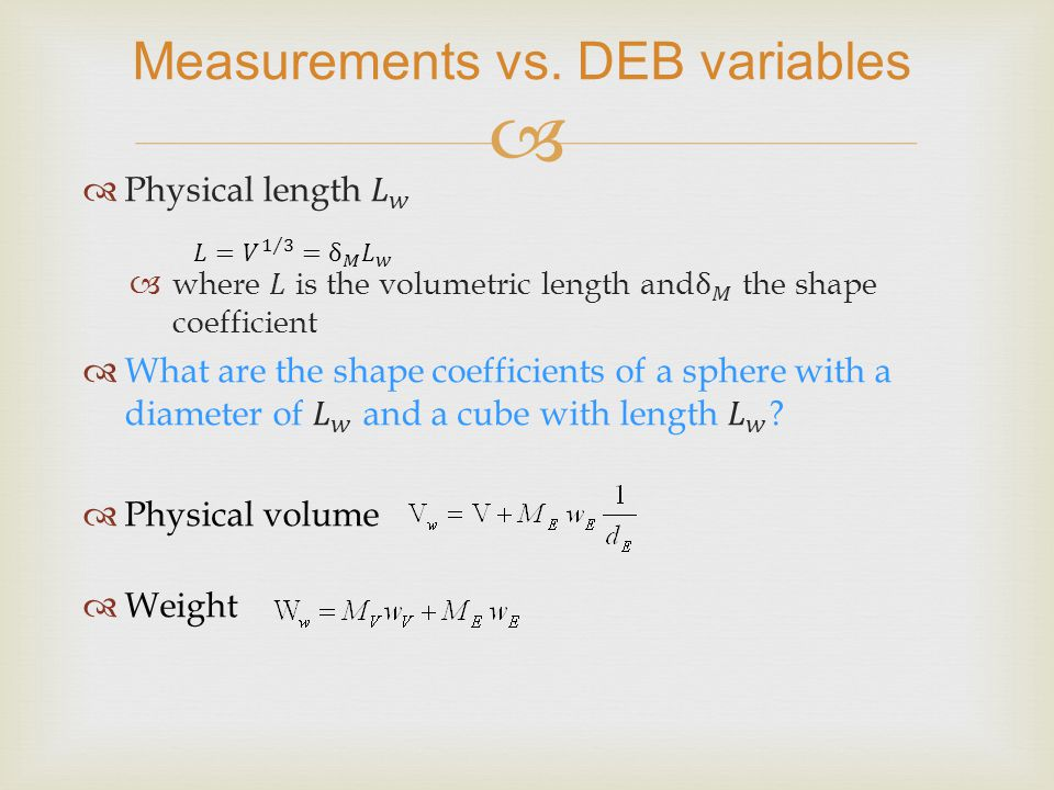  Measurements vs. DEB variables