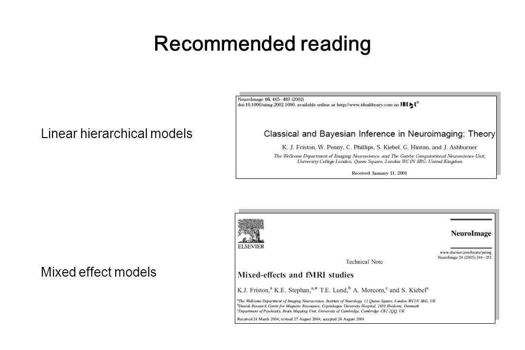 Recommended reading Linear hierarchical models Mixed effect models