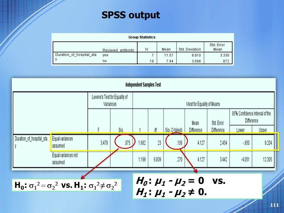 SPSS output H 0 :         vs. H 1 :     ≠    H 0 : μ 1 - μ 2 = 0 vs. H 1 : μ 1 - μ 2 ≠ 0. 111