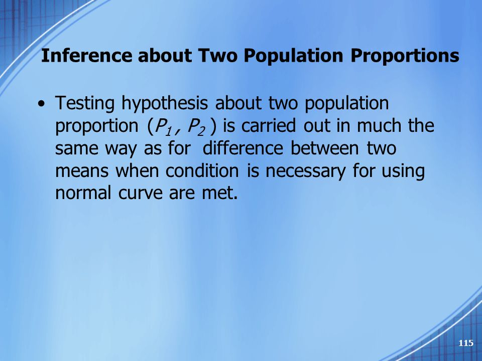 Inference about Two Population Proportions Testing hypothesis about two population proportion (P 1, P 2 ) is carried out in much the same way as for d