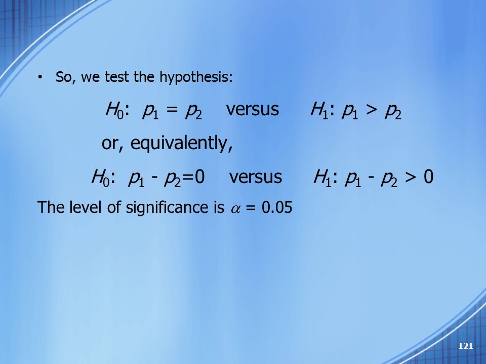 So, we test the hypothesis: H 0 : p 1 = p 2 versus H 1 : p 1 > p 2 or, equivalently, H 0 : p 1 - p 2 =0 versus H 1 : p 1 - p 2 > 0 The level of signif