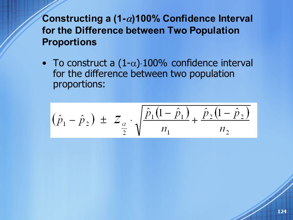 Constructing a (1-  )100% Confidence Interval for the Difference between Two Population Proportions To construct a (1-  )  100% confidence interval