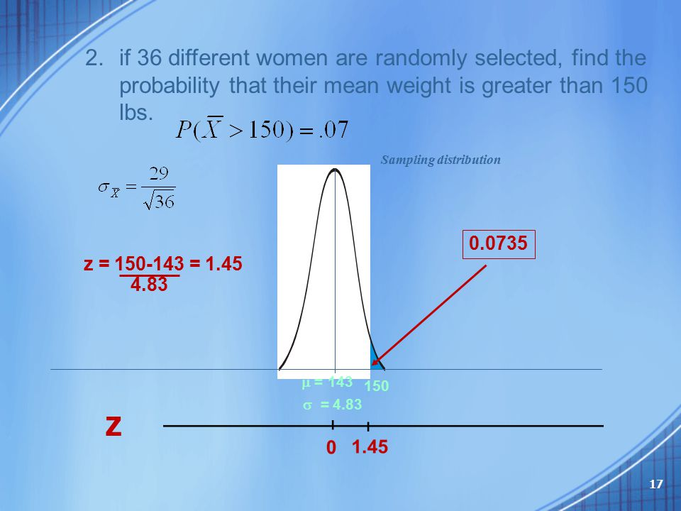 2.if 36 different women are randomly selected, find the probability that their mean weight is greater than 150 lbs. 150  = 143  = 4.83 Sampling di