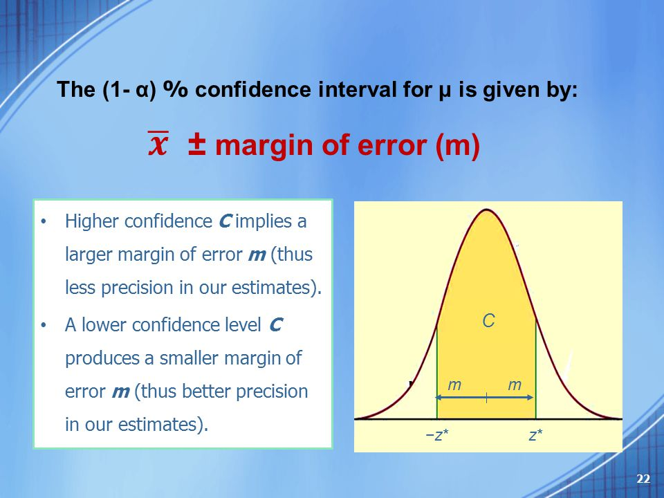 The (1- α) % confidence interval for μ is given by: C z*z*−z* m Higher confidence C implies a larger margin of error m (thus less precision in our est