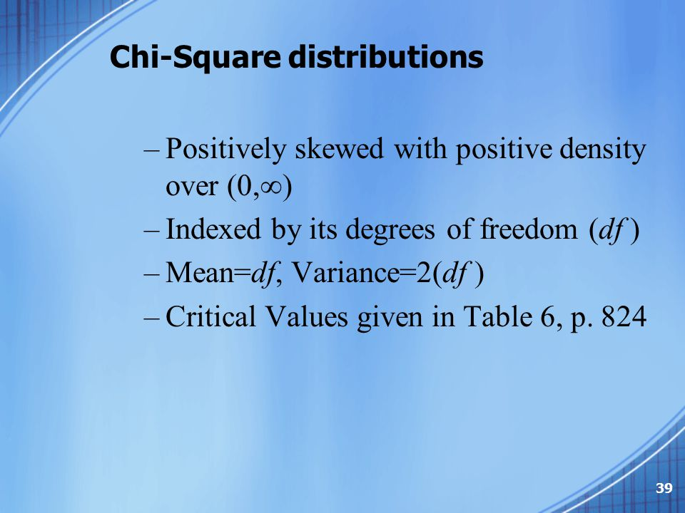 Chi-Square distributions –Positively skewed with positive density over (0,  ) –Indexed by its degrees of freedom (df ) –Mean=df, Variance=2(df ) –Cri