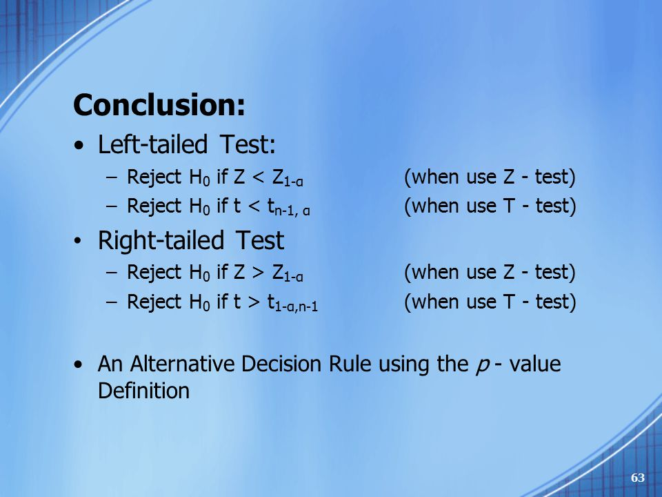 Conclusion: Left-tailed Test: –Reject H 0 if Z < Z 1-α (when use Z - test) –Reject H 0 if t < t n-1, α (when use T - test) Right-tailed Test –Reject H