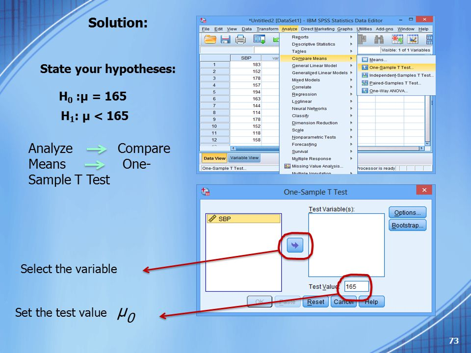 Solution: H 0 :μ = 165 State your hypotheses: H 1 : μ < 165 Analyze Compare Means One- Sample T Test Select the variable Set the test value μ 0 73