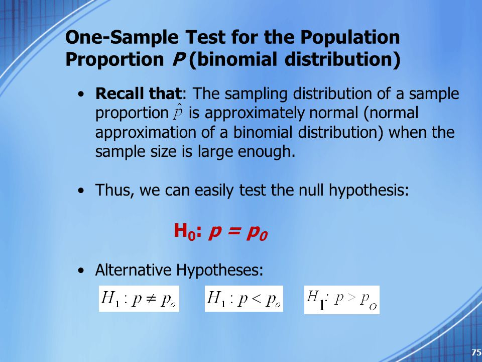 One-Sample Test for the Population Proportion P (binomial distribution) Recall that: The sampling distribution of a sample proportion is approximately