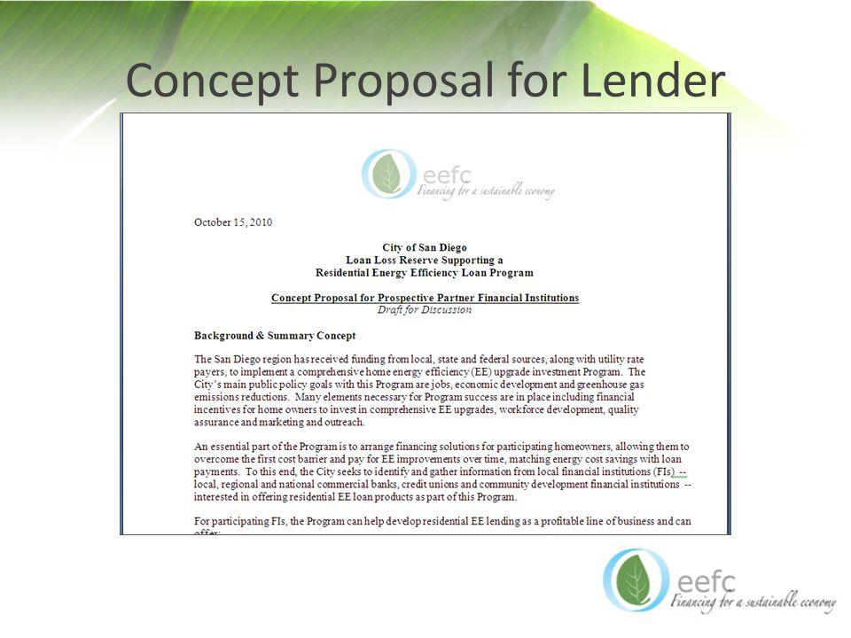 Concept Proposal for Lender