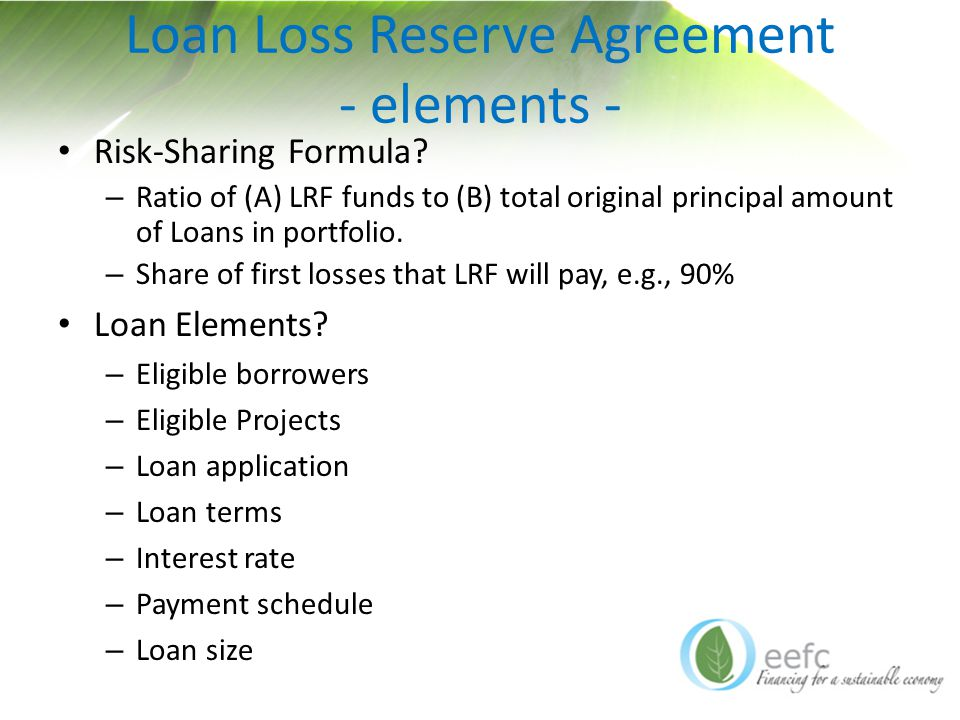 Loan Loss Reserve Agreement - elements - Risk-Sharing Formula.