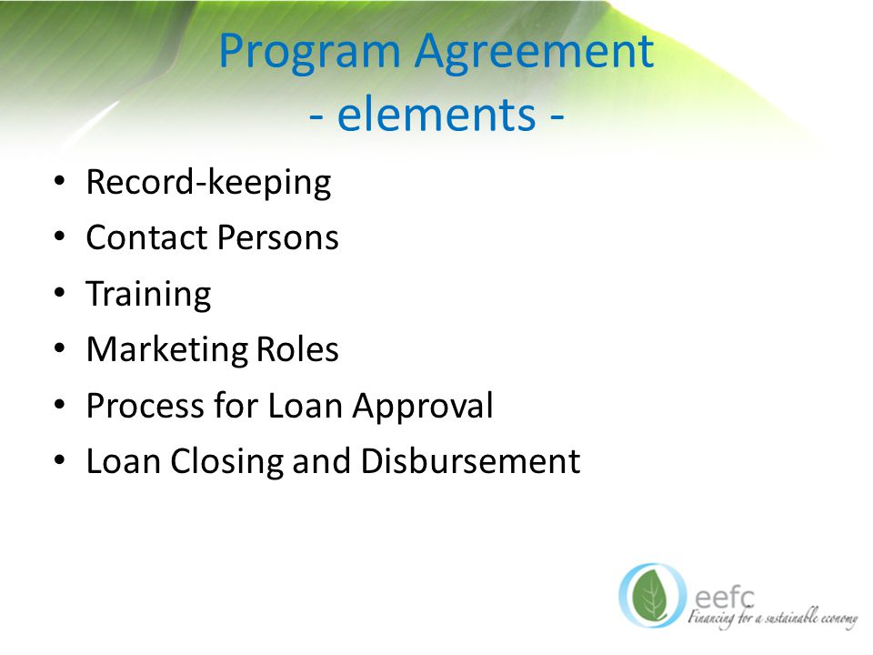 Program Agreement - elements - Record-keeping Contact Persons Training Marketing Roles Process for Loan Approval Loan Closing and Disbursement