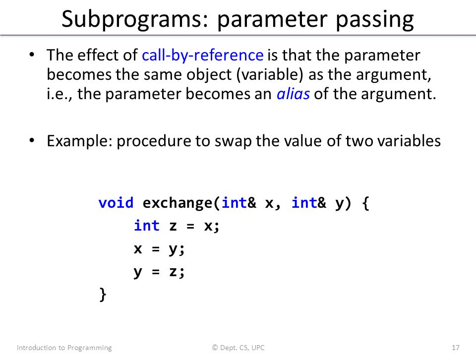 Subprograms: parameter passing The effect of call-by-reference is that the parameter becomes the same object (variable) as the argument, i.e., the par