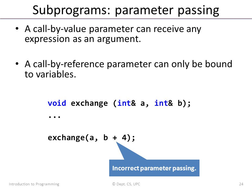 Subprograms: parameter passing A call-by-value parameter can receive any expression as an argument. A call-by-reference parameter can only be bound to