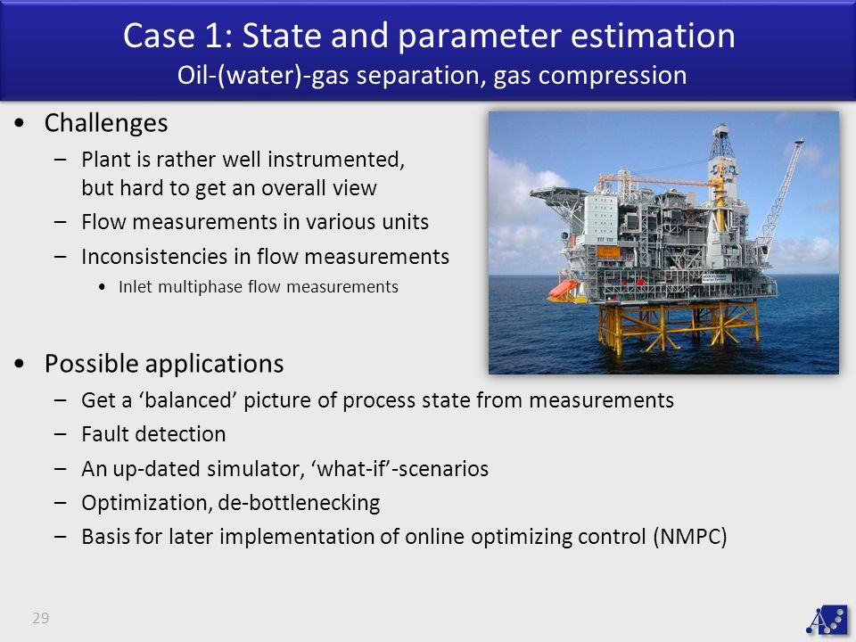 Case 1: State and parameter estimation Oil-(water)-gas separation, gas compression 29 Challenges –Plant is rather well instrumented, but hard to get an overall view –Flow measurements in various units –Inconsistencies in flow measurements Inlet multiphase flow measurements Possible applications –Get a 'balanced' picture of process state from measurements –Fault detection –An up-dated simulator, 'what-if'-scenarios –Optimization, de-bottlenecking –Basis for later implementation of online optimizing control (NMPC)