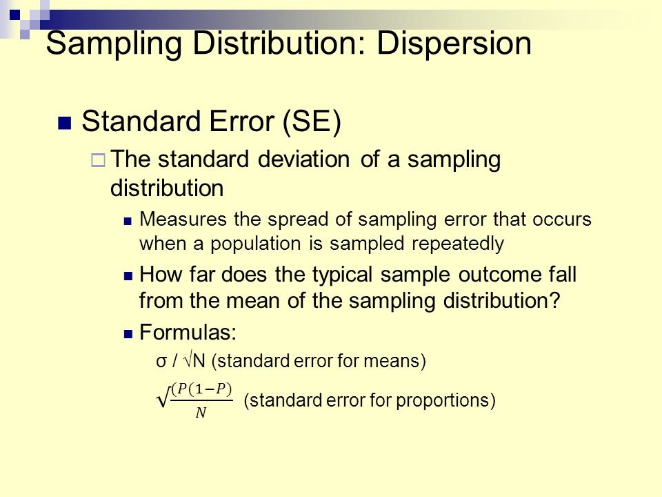 Sampling Distribution: Dispersion