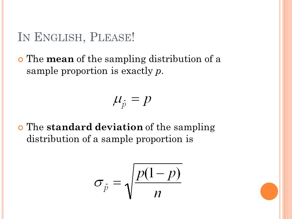 I N E NGLISH, P LEASE . The mean of the sampling distribution of a sample proportion is exactly p.